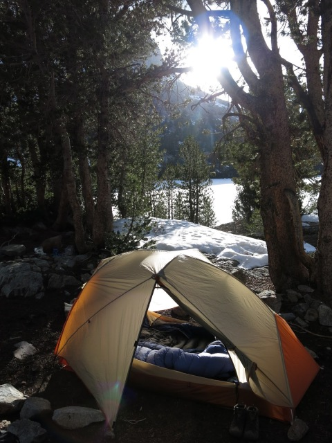 Camping at Long Lake, Sierra Nevada