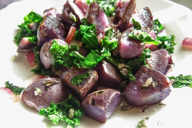 Purple Potato and Kale Hash