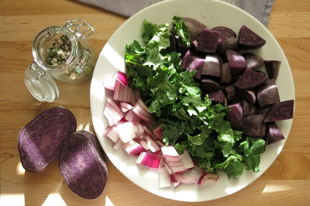 Purple Potatoes and Kale