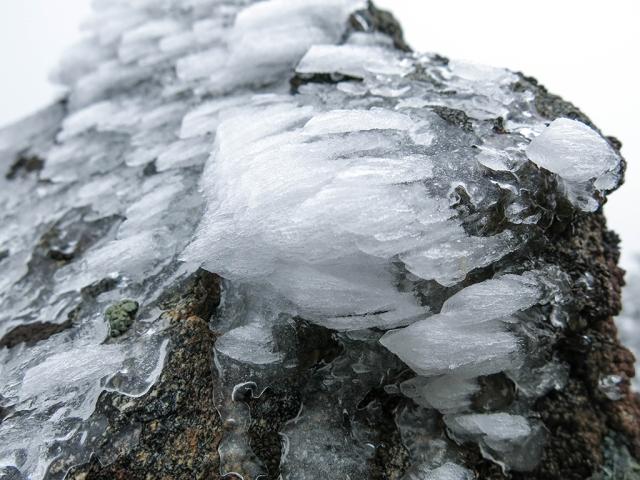 Windswept Ice on Rock