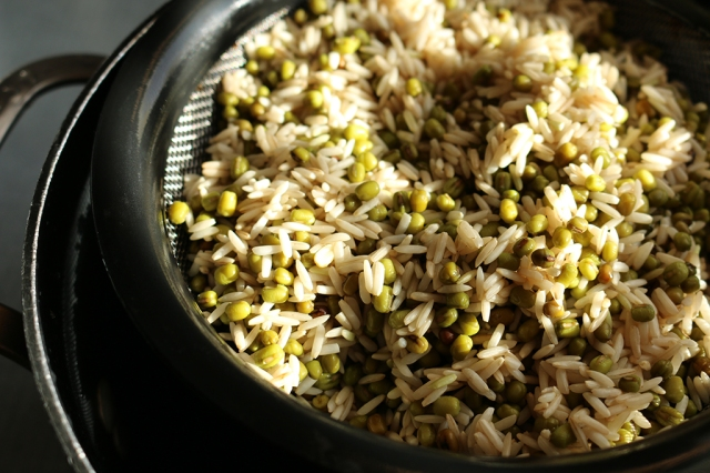 Rinsed Rice and Mung Beans