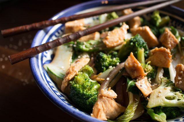 Chicken Broccoli and Bok Choy